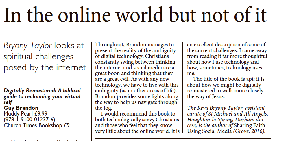 Reviews: Guy Brandon's Digitally Remastered in the Church Times.