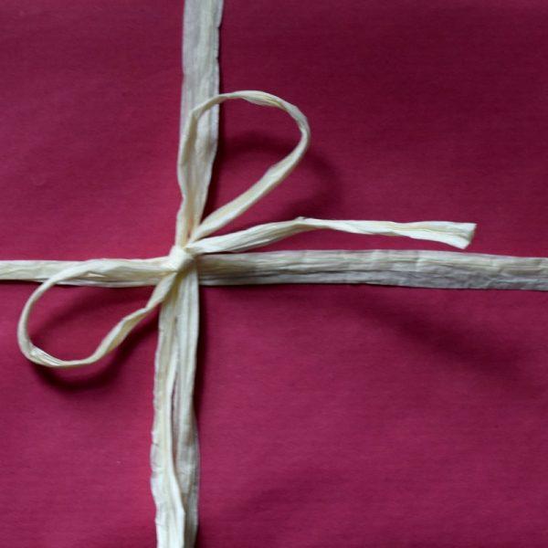 Pink kraft wrap with rafia ribbon